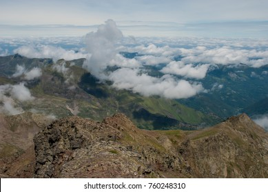 Aerial view of the Ariege from the tuc of Maubèrme, Pyrenees