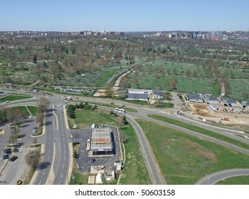 aerial view of the Arlington  National Cemetery