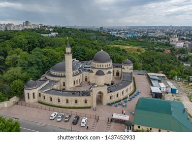 An aerial view of the Ar-Rahma Mosque, translated Mercy Mosque, is a mosque in Kiev, the capital of Ukraine on June 29, 2019