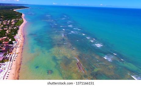 Aerial view of Arraial d'Ajuda Beach, Porto Seguro, Bahia, Brazil. Beauty landscape with several palm trees. Travel destination. Vacation travel. Tropical travel.