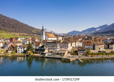 Aerial view of the Arth Goldau village by lake Zug in Canton Schwyz in Central Switzerland on a sunny day.