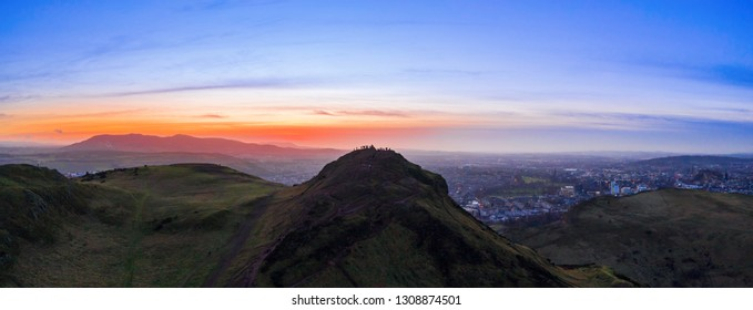 Aerial view of Arthur's Seat mountain, an extinct volcano, the main peak of the group of hills in Edinburgh, Scotland
