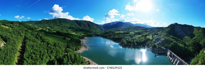 Aerial view of the artificial lake of Fontanaluccia Gazzano in Frassinoro, Modena, Emilia Romagna / Italy