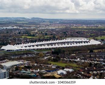 Aerial view of Ashford, Kent, UK