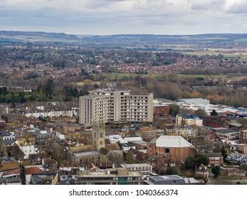 Aerial view of Ashford town, Kent, UK