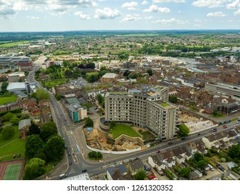 Aerial view of Ashford town, located in Kent, England