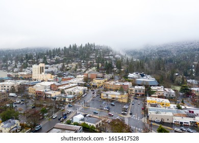 Aerial view of Ashland Oregon in the winter
