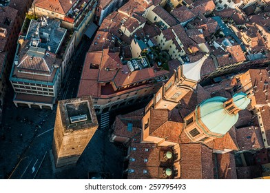 aerial view from Asinelli Tower in Bologna, Italy