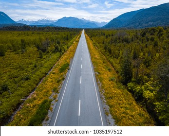 Aerial view of the asphalt road. Adventure road Carretera Austral near the town of Chaiten, Chile
