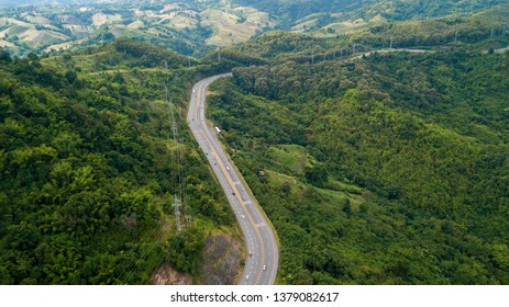 Aerial view of asphalt road on the hill in Phetchabun province, Thailand, Top of view highway road north in Thailand