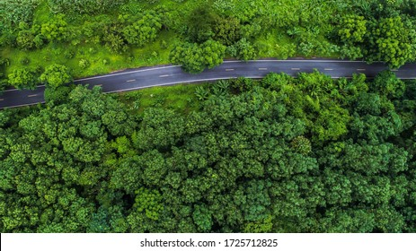 Aerial view asphalt road through green tropical rainforest nature landscape