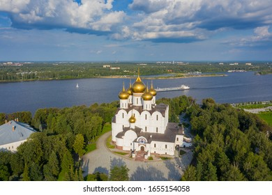 Aerial view of the Assumption Cathedral in Yaroslavl, park Strelka and Volga river