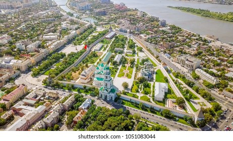 Aerial view of the Astrakhan Kremlin, historical and architectural complex. Russia, Astrakhan