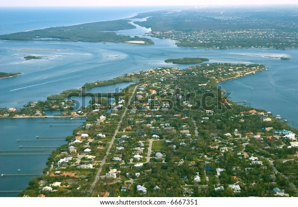 aerial view of atlantic intracoastal islands and st. lucie inlet looking from stuart florida southward