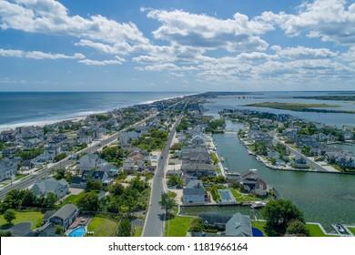 Aerial view of Atlantic Ocean and Bay Head Harbor in Bay Head, New Jersey.
