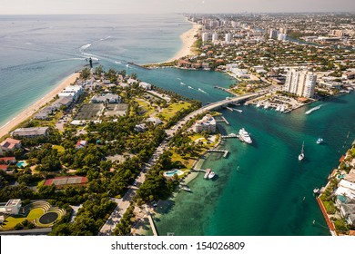 aerial view of atlantic ocean and intracoastal waterway in south florida