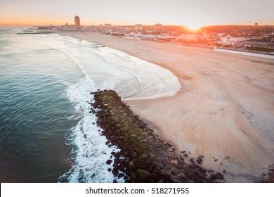 Aerial view of Atlantic Ocean near Asbury Park, New Jersey at sunset