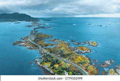 Aerial view Atlantic ocean road in Norway travel drone landscape stormy sky nature moody weather scandinavian landmarks destinations from above