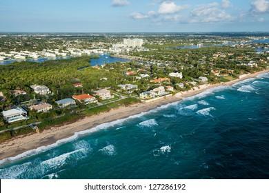 aerial view of atlantic ocean shoreline at palm beach county in florida, winter 2013