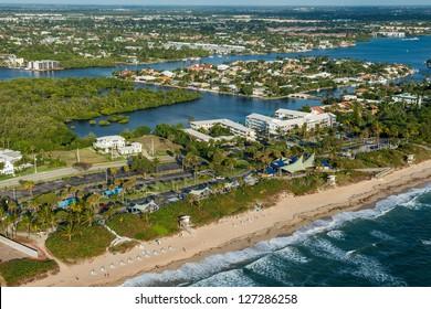 aerial view of atlantic ocean shoreline and ocean ridge municipal park at boynton beach in palm beach county florida, winter 2013