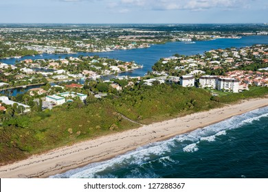 aerial view of atlantic ocean shoreline and intracoastal waterway at palm beach county in florida, winter 2013