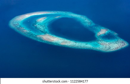 Aerial view of an atoll in the Maldives, Indian Ocean