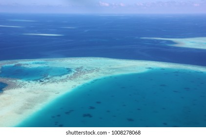 Aerial view of an atoll from seaplane, flight from North Male Atoll to South Ari Atoll, Maldives