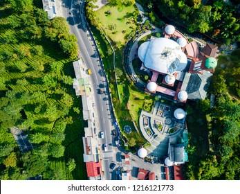 Aerial View of Atta'awun Mosque (Masjid Atta'awun) Puncak Pass, Bogor, West Java, Indonesia