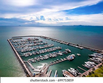 Aerial view attractive sea, blue sky , yatch of Pattaya harbor , Chonburi , Thailand