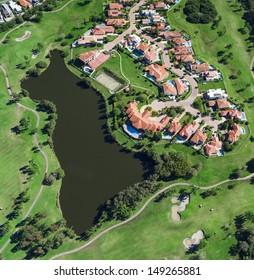 Aerial view of australian luxury golf neighborhood