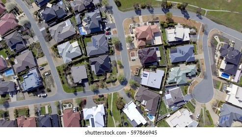 Aerial view of an Australian suburb