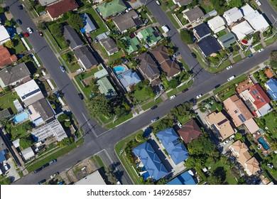 Aerial view of  australian suburban houses