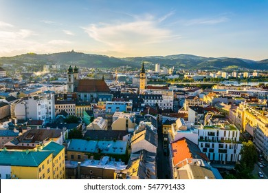 Aerial view of the Austrian city Linz including the old Cathedral, schlossmusem and the postlingberg basilica.