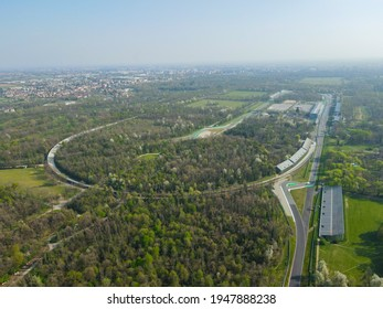 Aerial view of Autodromo Nazionale Monza, a race track near the city of Monza in Italy, north of Milan. Venue of the Formula 1 Grand Prix. From the air, drone photography.