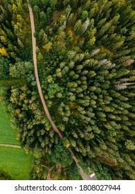 Aerial view to autumn classic Finnish landscape in Nuuksio natio