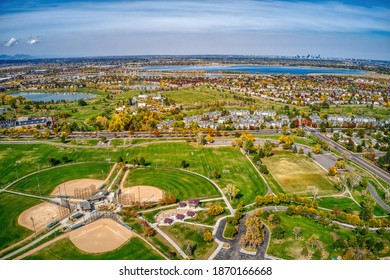 Aerial View of Autumn Colors in Denver Suburb of Englewood, Colorado