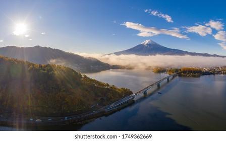 Aerial view Autumn of Fuji Mountain at Kawaguchiko Lake,Japan