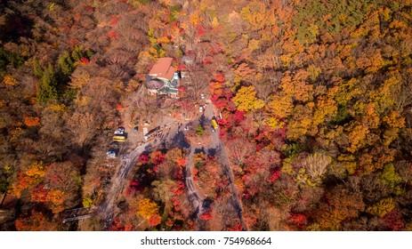 Aerial view autumn of Naejangsan National Park,South Korea.