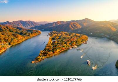 Aerial view autumn of Nami island,Seoul, South Korea