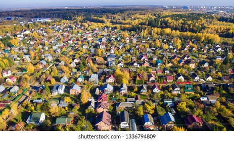 Aerial view. Autumn outdoor. Rural scenery.