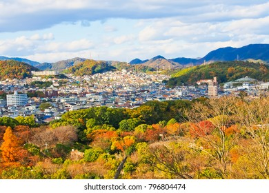 Aerial view of autumn scenery of himeji city from the top of himeji castle hyogo japan