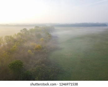 Aerial view of autumn trees in misty Bavarian countryside