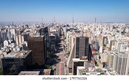 Aerial view of Avenida Paulista (Paulista avenue) in Sao Paulo city, Brazil