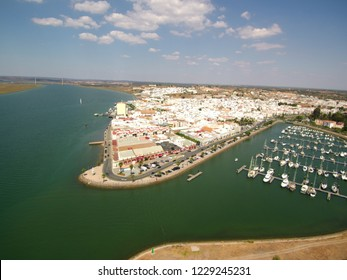 Aerial view of Ayamonte, Huelva. Andalusia. Spain - Portugal 4k Drone Video