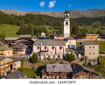 Aerial view of Ayas, Aosta, Italy