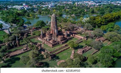 Aerial view Ayutthaya Historical Park, Phra Nakhon Si Ayutthaya, Ayutthaya, Thailand.