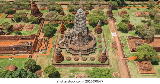 Aerial view of Ayutthaya temple, Wat Ratchaburana, empty during covid, in Phra Nakhon Si Ayutthaya, Historic City in Thailand - Shutterstock ID 2016690677