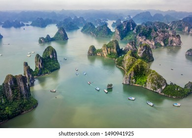 Aerial view Ba Hang floating fishing village, rock island, Halong Bay, Vietnam, Southeast Asia. UNESCO World Heritage Site. Junk boat cruise to Ha Long Bay.Famous destination of Vietnam
