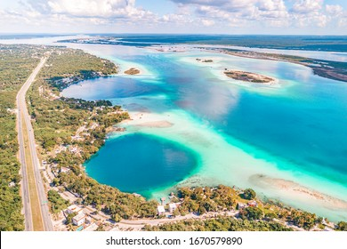 Aerial view of Bacalar Lagoon and Blue Cenote, near Cancun, in Riviera Maya, Mexico