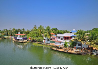 Aerial view of backwaters in Nedumudi village, located in the Alappuzha district.